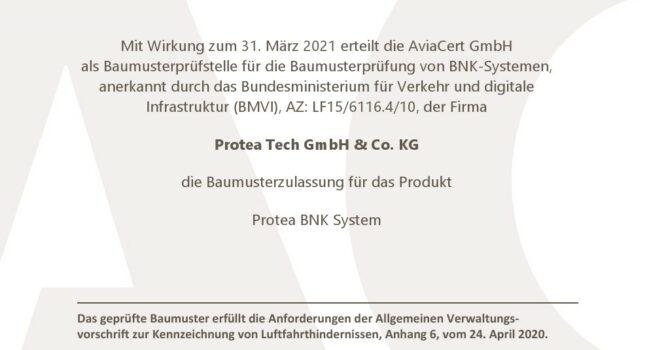 Protea Tech hat die BNK Baumusterprüfung erfolgreich abgeschlossen