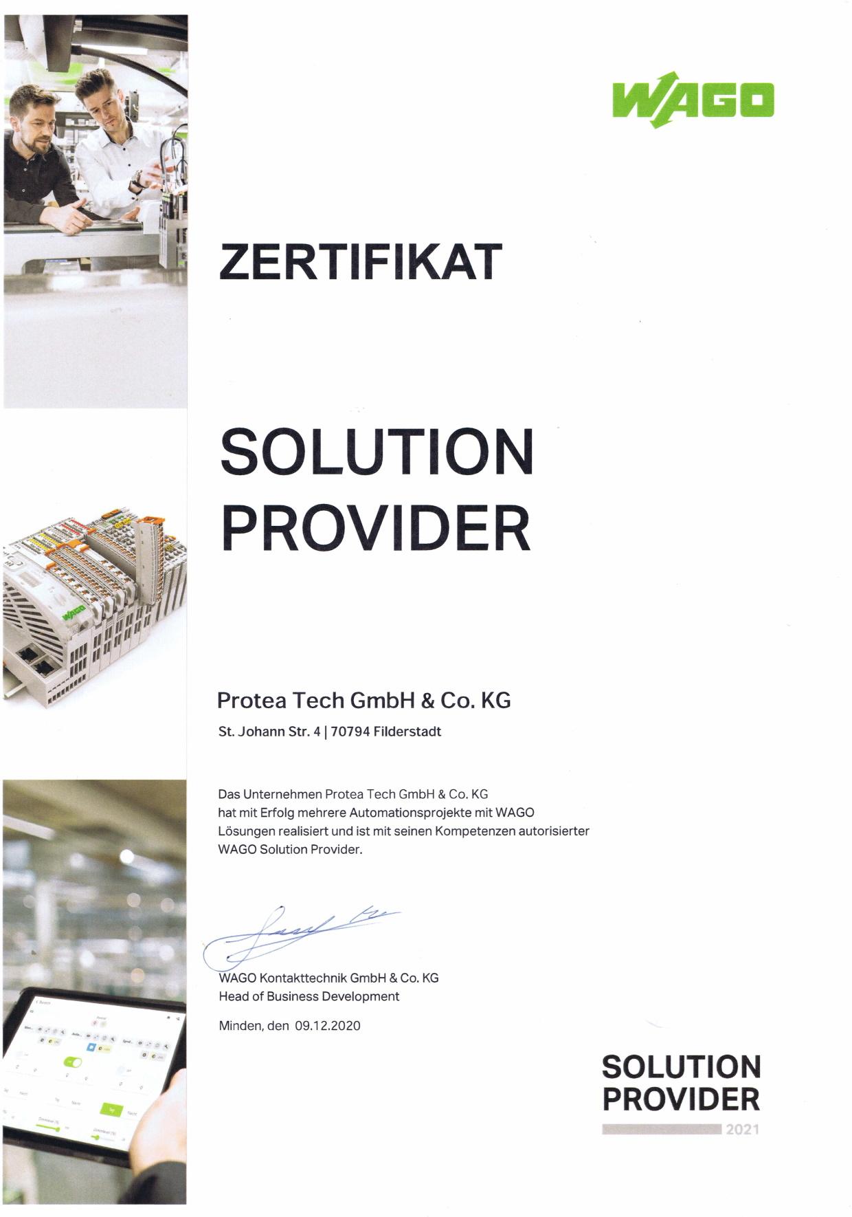 Protea Tech ist WAGO Solution Provider